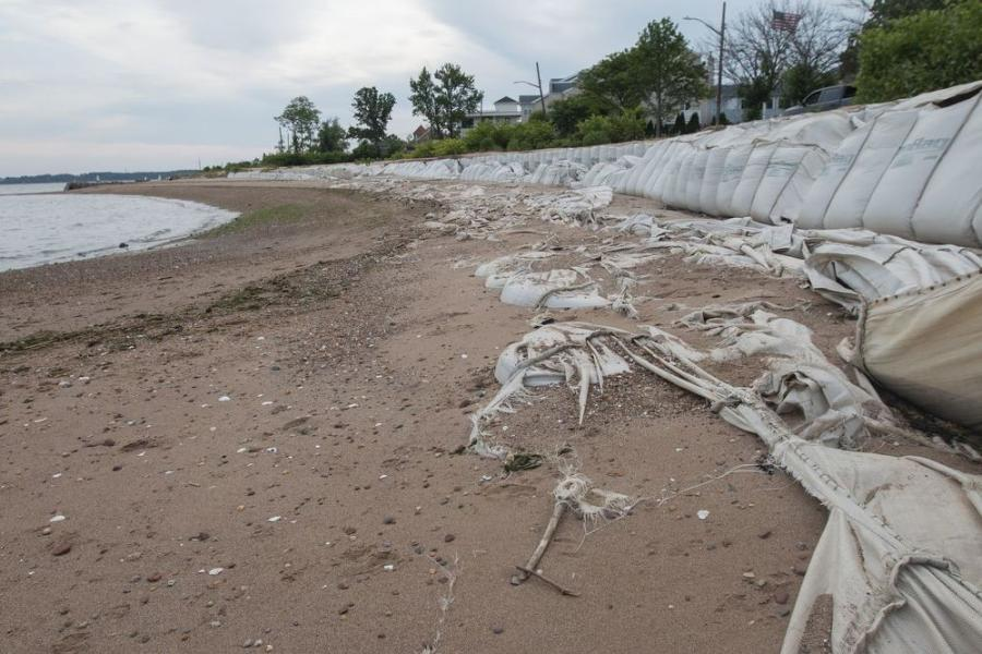 Sandbags meant to protect Tottenville's coastal neighborhoods are shown to be in disrepair on June 2, 2021. (Staten Island Advance/Paul Liotta)