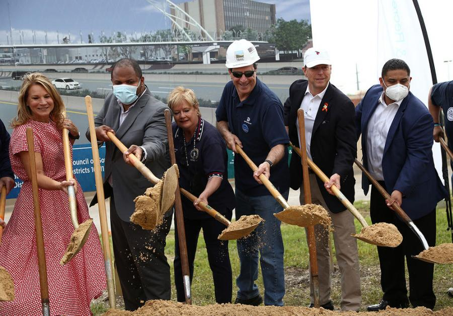 Officials gathered in May to commence construction on the new pedestrian bridge over U.S. 75.
