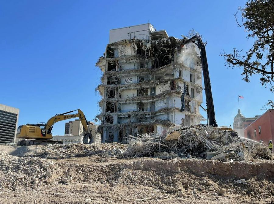 Crews from Hansco Inc. demolished the former Bexar County Jail in downtown San Antonio to make room for the University of Texas at San Antonio's (UTSA) $161 million Innovation, Entrepreneurship and Careers Building (IECB), which is expected to commence construction later this summer.