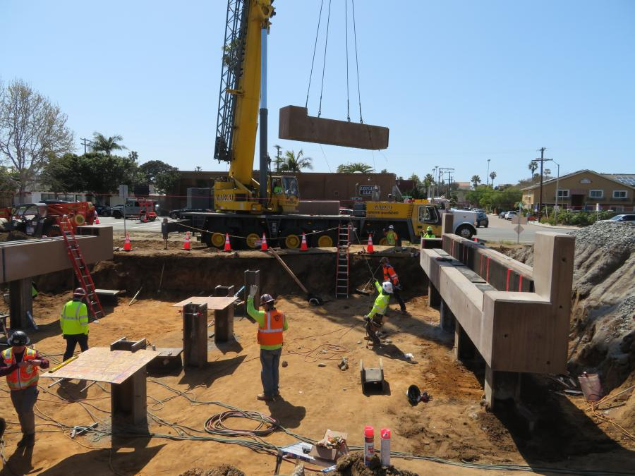 Mahaffey Drilling, working with Granite Construction, drilled 16 piles to support the new railroad bridge, which is a key element for the El Portal Undercrossing in Encinitas, Calif.
