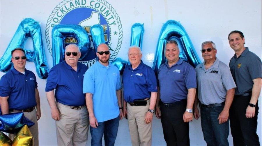 (L-R): Equipment show committee members Jeffrey Coleman, village of Scarsdale; Jim Maxwell, retired; Tyler Seifert, village of Scarsdale; Jim Dean, town of Orangetown; Lou Martirano, village of Tarrytown; Peter Sciliano, retired; and Stephan Muno, town of Orangetown.