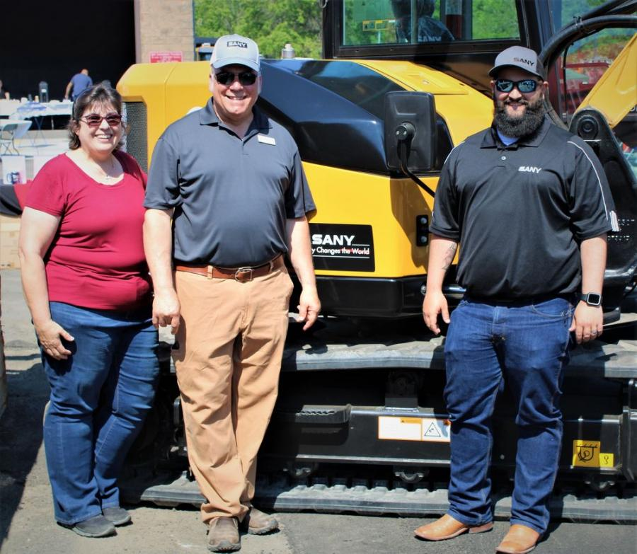 With SANY New York showing the latest offerings in SANY excavating products (L-R) are Karie Boniface, George Maggiolo and Joe Duplessis, of SANY North America.
