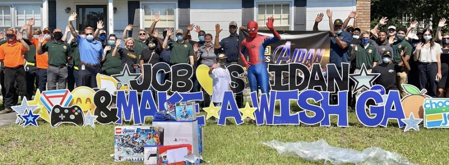 JCB team members from manufacturing, office staff, the demonstration team and the apprentice team, along with a few pieces of JCB equipment and Spider-Man, delivered some extra special surprises to Aidan on his Wish Day.