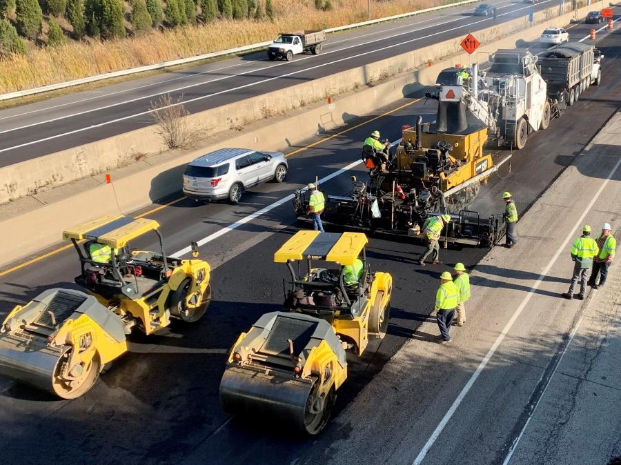 Paving operations were performed using Cat 1055F pavers, along with Cat and BOMAG rollers. Milling was done with Wirtgen 210fi and 250 milling machines. (John R. Jurgensen Company photo)