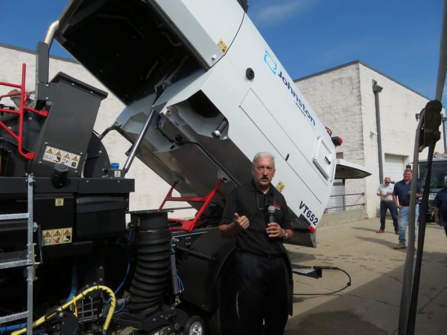 Gary Gainer, regional sales manager of Bucher Municipal North America, goes over all the features of the Bucher V65t sweeper.