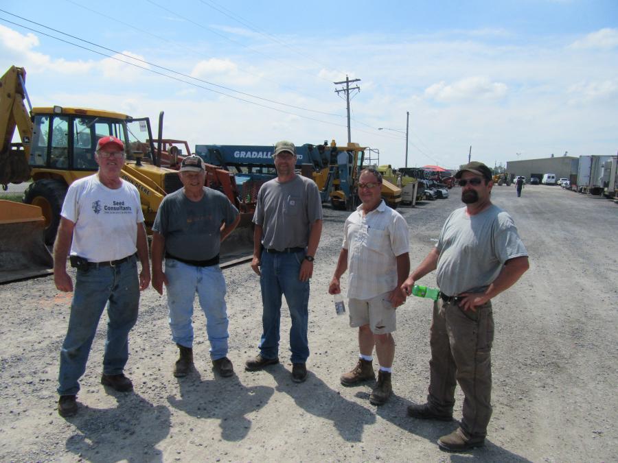 (L-R): Dan Stevenson of Stevenson Farms caught up with John Myers of J. Myers & Sons Farms; Todd Shininger; Andy Shininger; and Josh Miller all of A. Shininger Farms.
