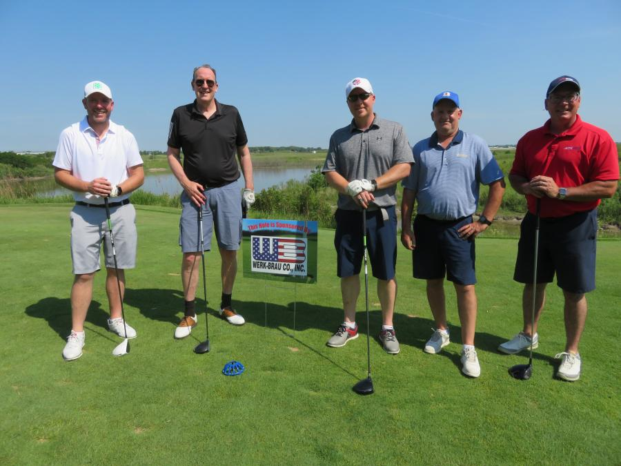 (L-R) Brian Connolly of Superior Construction; Bill McNamara of Alta Equipment Co.; Ernie Stephens of Superior Construction; Ricky Glasow of Hayes Mechanical; and Bruce Davis of Alta Equipment are ready to tee off at the hole sponsored by Werk-Brau.