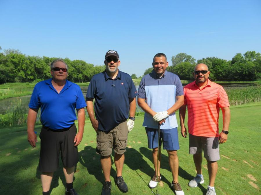 (L-R): Brian Duddy and Rick Kostecki of Break Thru Demolition team up with Robert Velazquez and Gabe Valazquez of Semper Fi Landscaping for a day of golf.