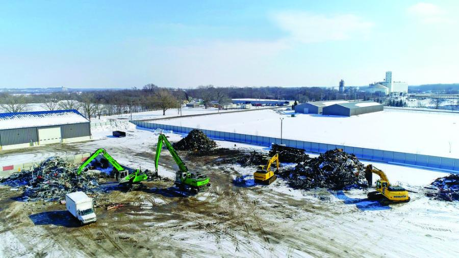 Scrap Processors Inc. (SPI) opened a new, 10-acre facility in Des Moines, Iowa, in 2020. SPI uses SENNEBOGEN 825 and 835E material handers in addition to Komatsu PC210LC and PC390LC excavators to process material at the yard.