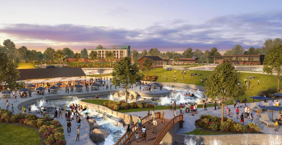 Montgomery's $50-million whitewater and outdoor activities center is expected to enhance tourism and boost economic development when it opens in 2023. (Liquid Design rendering)
