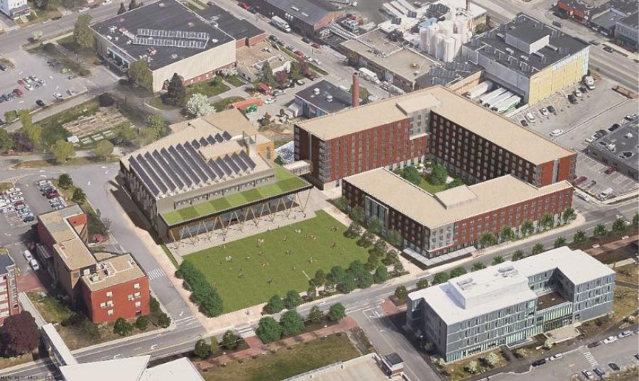 This aerial view shows the proposed new student center, just left of center, and the proposed new residence hall, right of center, at the University of Southern Maine in Portland. (Elkus Manfredi Architects rendering)