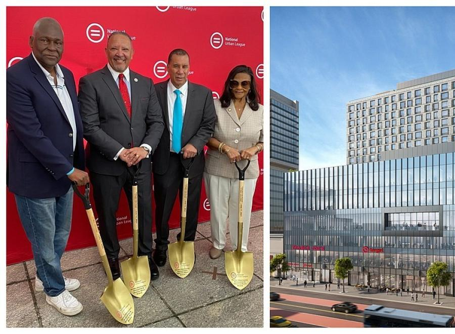 (L-R): Keith Wright; National Urban League President and CEO Marc Morial; former NYS Gov. David Paterson; and Assemblywoman Inez Dickens. Rendering of the Urban League Empowerment Center (Cyril Josh Barker photo/Image courtesy of the National Urban League)