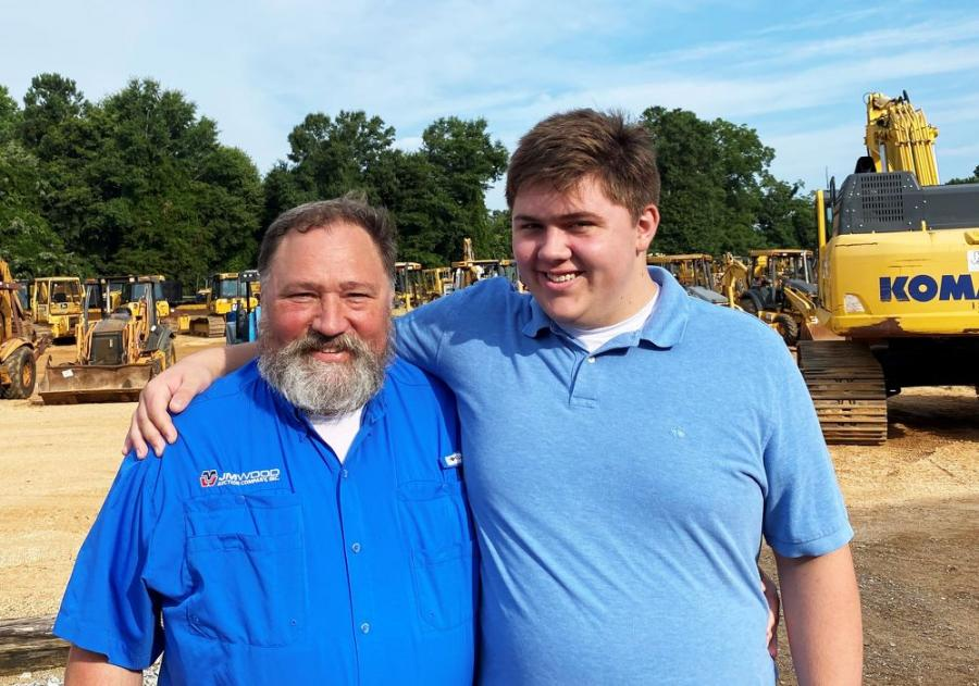 JM Wood's Wheeler Johnson (L) and his son, future third-generation auction man, Wheeler Johnson Jr., work the auction together for a couple of days.