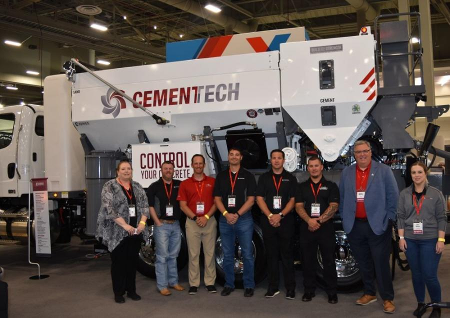Representing Cemen Tech (L-R) are Kris Moorman, marketing manager; Zach Deason, regional sales manager; Rob Peterson, technology sales manager; Brant Pfantz, director of supply chain; Mark Rinehart, director of sales and marketing; Tony Hood, regional dealer support manager; Conner Deering, CEO and president; and Jess Nelson, project and content specialist.