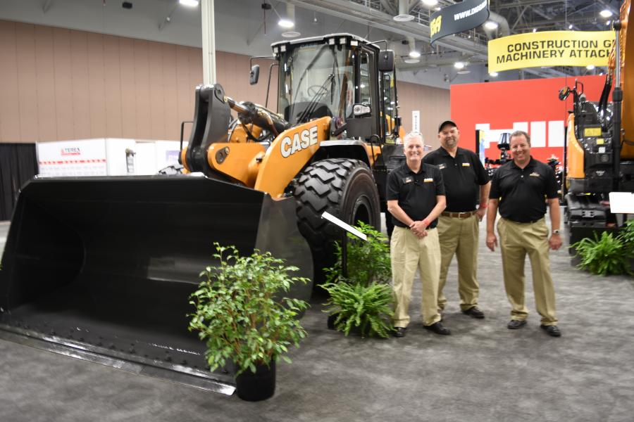 Justin Conder (L), product specialist of Case; Joe Stanley, territory sales manager of Case; and Ray Stahl, account manager of Sonsray Machinery.