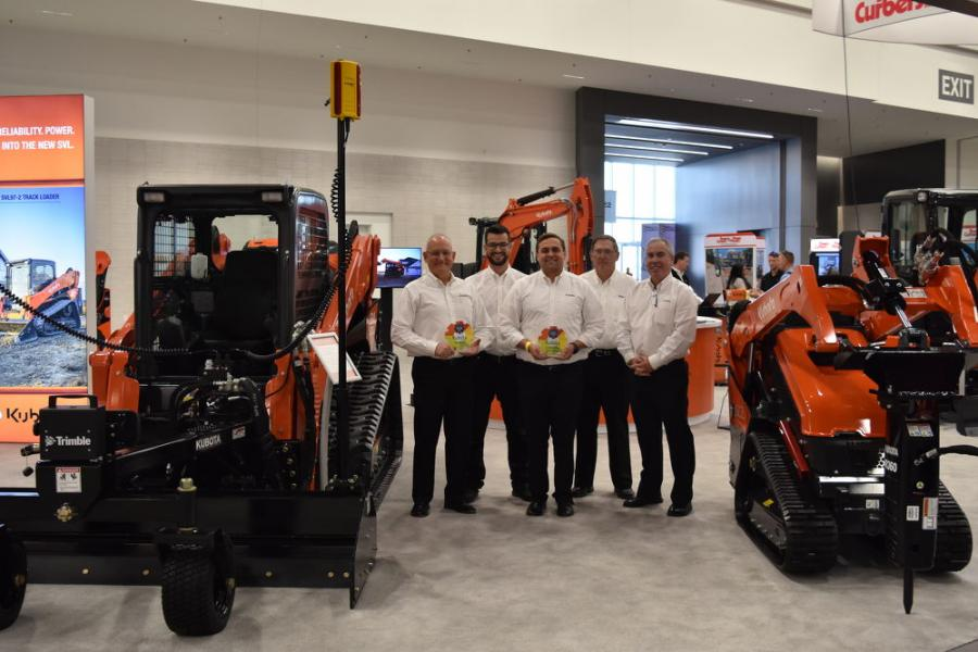 Representing Kubota Tractor Corporation (L-R) are Tom Burton, director, product marketing, construction and national accounts; Thomas W. Louderback, CE business development manager, southeast division; Patrick Baker, CE product manager; Michael Stanley, construction equipment business development manager, southeast division; and Rusty Pugh, manager, NA municipal and new business.