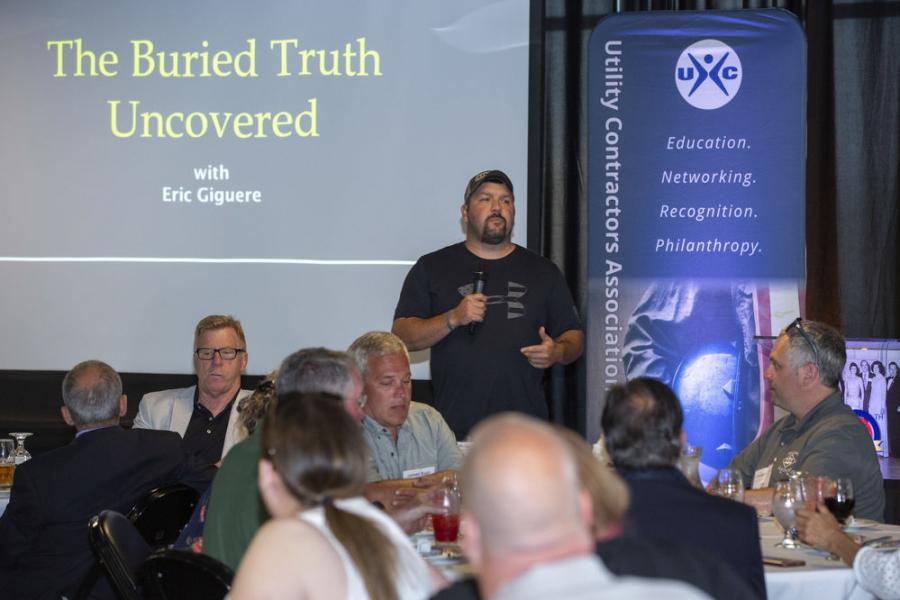 Keynote Speaker Eric Giguere, Safety Awareness Solutions, shared his near-death experience in a trench collapse.