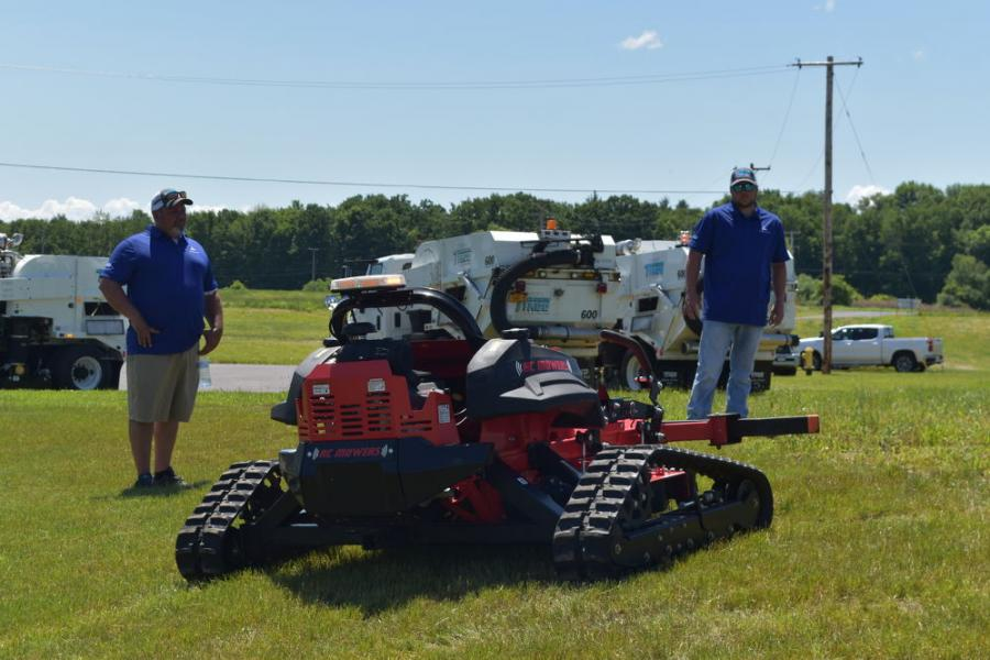 A live demonstration of RC Mowers featured remote-control operation and rubber-track drive.