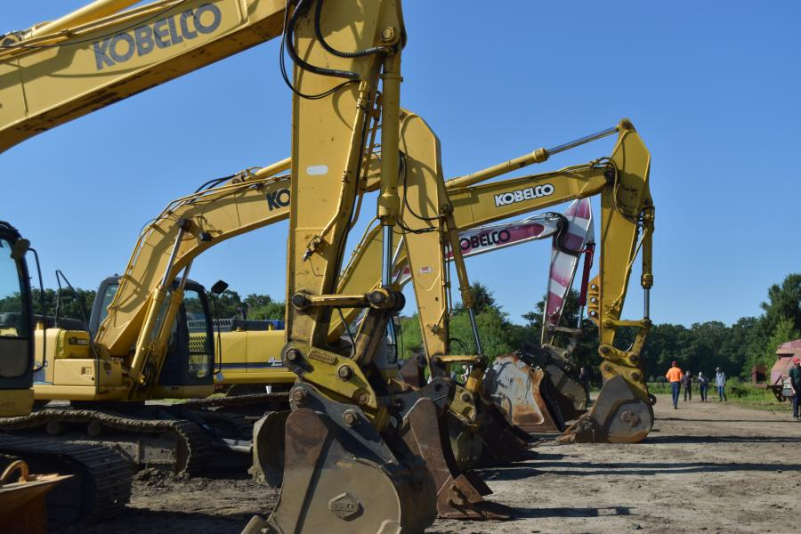 The core of the Giberson excavating business was this nice lineup of Kobelco excavators.