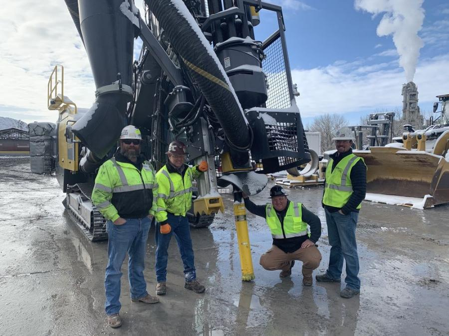 (l-R): Epiroc employees Robert Tornblom, Michael O'Hara, Delaney Erickson and Tyrel Ross are on hand to support the installation of a SmartROC D65 and COP M-series M6 DTH hammer at a drill site in Florence, Colo.