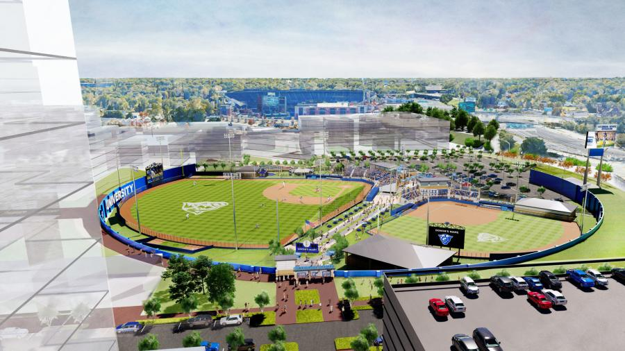 A rendering of GSU's plans for its baseball and softball fields. The Hank Aaron tribute would be at the main entrance to the facility (Georgia State University rendering)