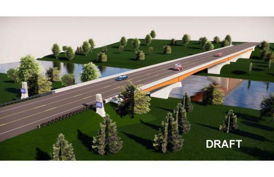 The new bridge will be a three-span, 600-ft.-long steel I-beam structure that will have two, 12-ft.-wide travel lanes, one in each direction, and 10-ft.-wide shoulders. (TDOT rendering)