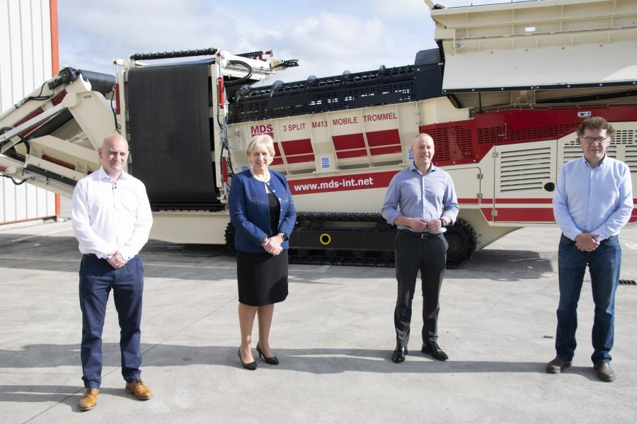 (L-R) Pictured at the announcement is Conor Hegarty, general manager and business line director of MDS — a Terex brand; Minister Heather Humphreys, TD of the Cavan–Monaghan constituency; Pat Brian, VP and managing director, mobile crushing and screening, Terex; and Liam Murray, founder of MDS International.