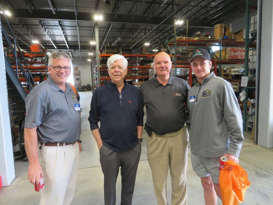 (L-R) are Robert Sloan, president of CE Rentals; Toby Mack, past AED president; Earl K. Harbaugh, founder of Ditch Witch Midwest; and Tom Sloan of CE Rentals.