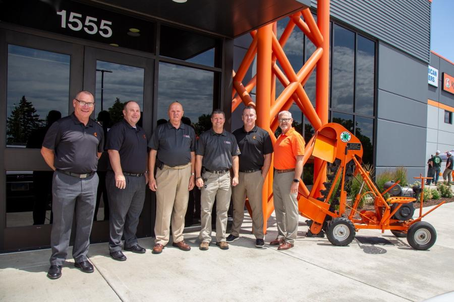 (L-R): Shan Kirtley, Kevin Smith, Earl K. Harbaugh, Mark Harbaugh, Tucker Dotson and Randy Rupp celebrate the 50th anniversary of Ditch Witch Midwest.