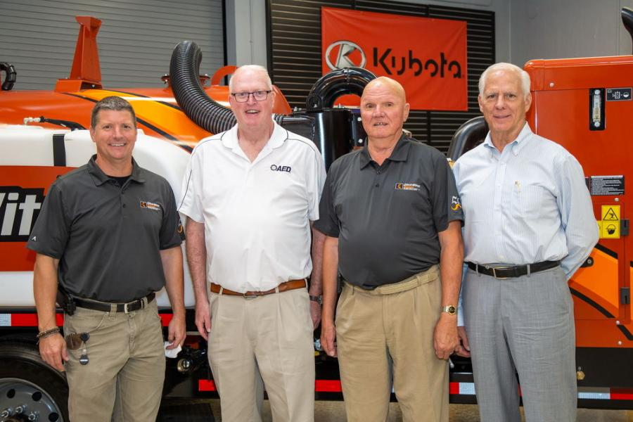 (L-R) are Mark Harbaugh, president of Ditch Witch Midwest; Brian McGuire, president of AED; Earl K. Harbaugh, founder of Ditch Witch Midwest; and Bob Henderson, executive vice president and COO of AED.