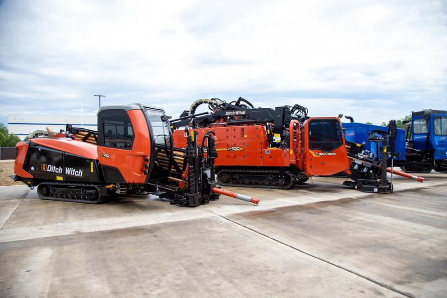 The Ditch Witch JT 100 directional drill has a 260 hp Cummins engine with 100,000 lbs. of pullback and 12,000 ft.-lb. of torque.