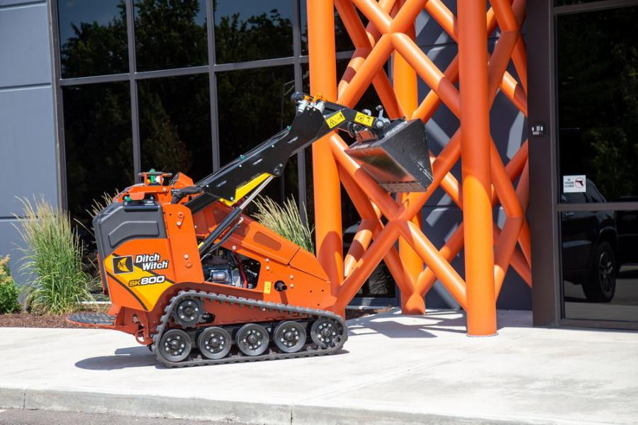 The Ditch Witch SK800 mini-skid steer has a 24.8 hp Kubota engine and is useful for a variety of jobs, big and small.