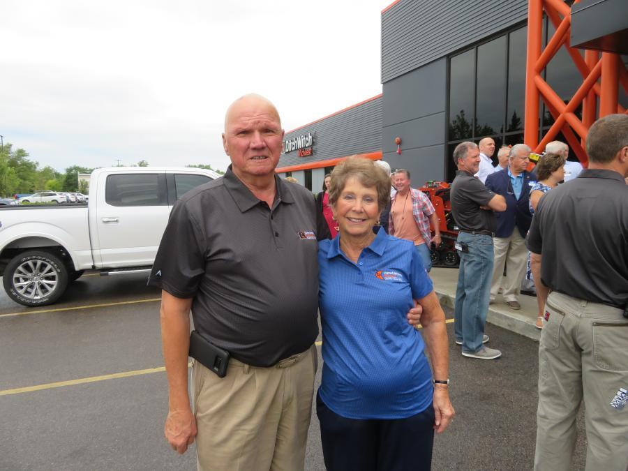 Ditch Witch Company founders, Earl K. and Kay Harbaugh, welcome customers and guests to the new facility in West Chicago.