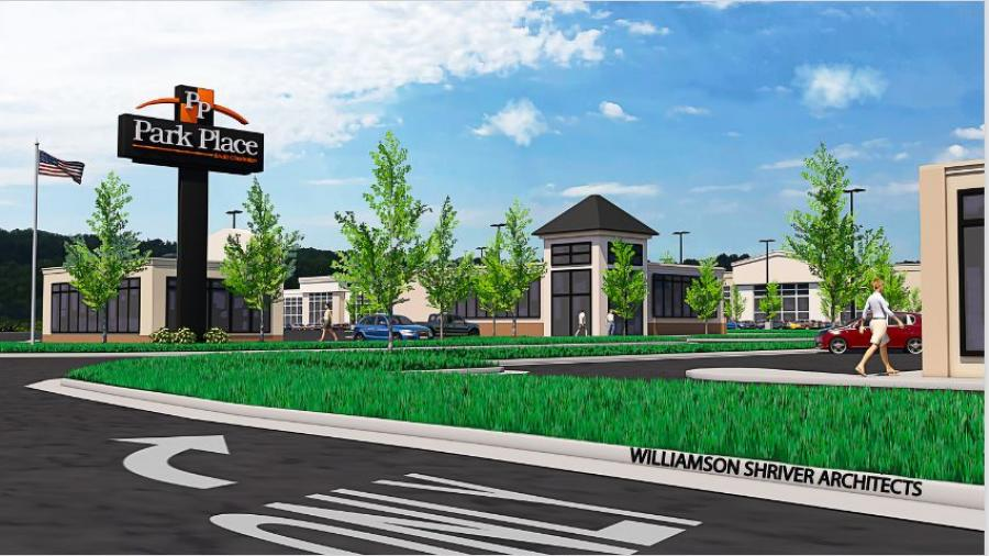 The new Park Place shopping complex along U.S. Route 60 will be located at a site that formerly was a fly ash pond.