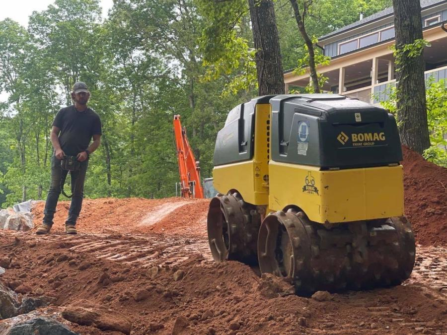 Josh Miller, proprietor of Backwoods Grading, Landscape and Excavation, uses the Bomag BMP 8500 articulated, dual-drum, radio-controlled multipurpose compactor, specially designed for earthworks, just about every day and