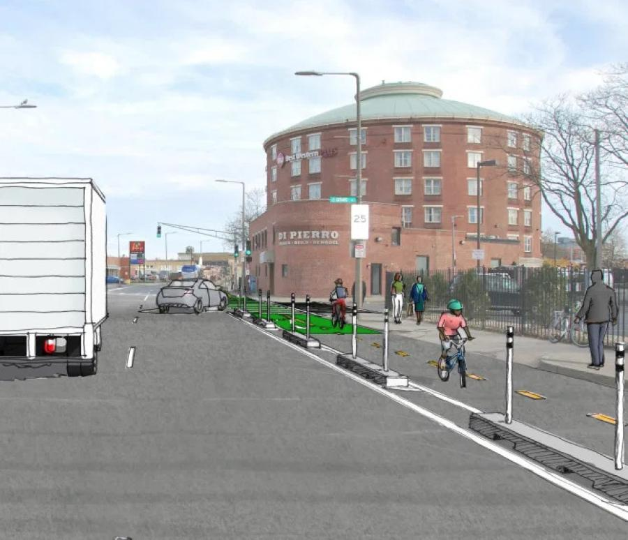 The City of Boston plans to add a two-way protected bikeway on Massachusetts Avenue between Melnea Cass Boulevard and Columbia Road in Dorchester. (City of Boston rendering)