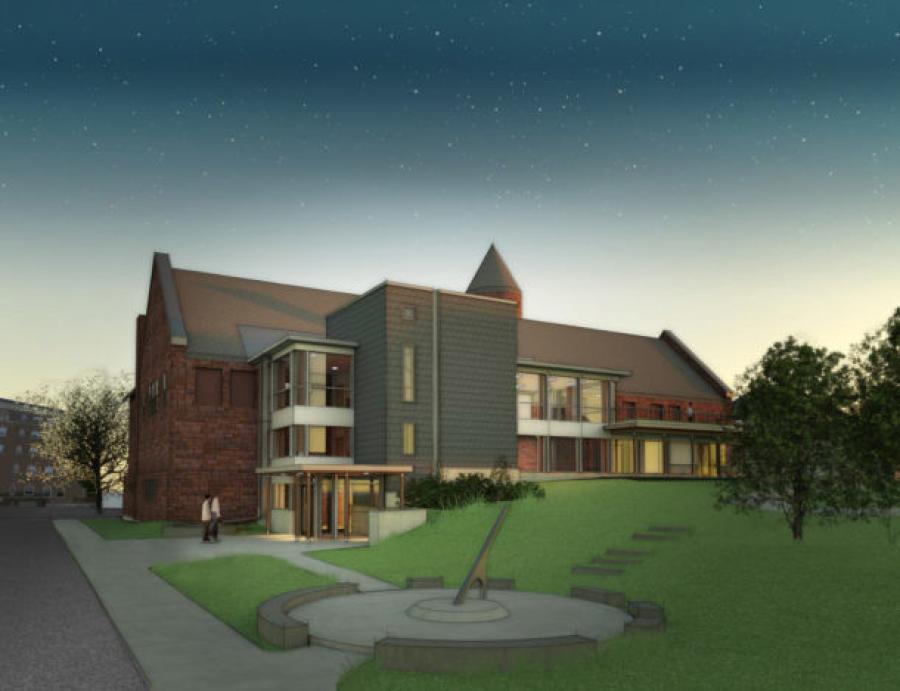 An architectural rendering shows the planned addition at the Fairbanks Museum and Planetarium in St. Johnsbury, which will cost around $2 million and be the first addition since 1895. (Vermont Integrated Architecture rendering)