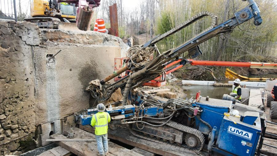 UMA Geotechnical Construction successfully secured two existing retaining walls in the Winston-Salem area to allow demolition of an existing bridge to move forward.