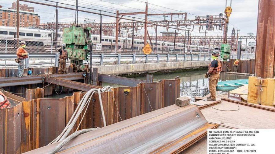 The $40 million contract, awarded to Walsh Construction, is taking place adjacent to the Hudson Bergen Light Rail and the Hoboken Yard, in Jersey City, N.J.