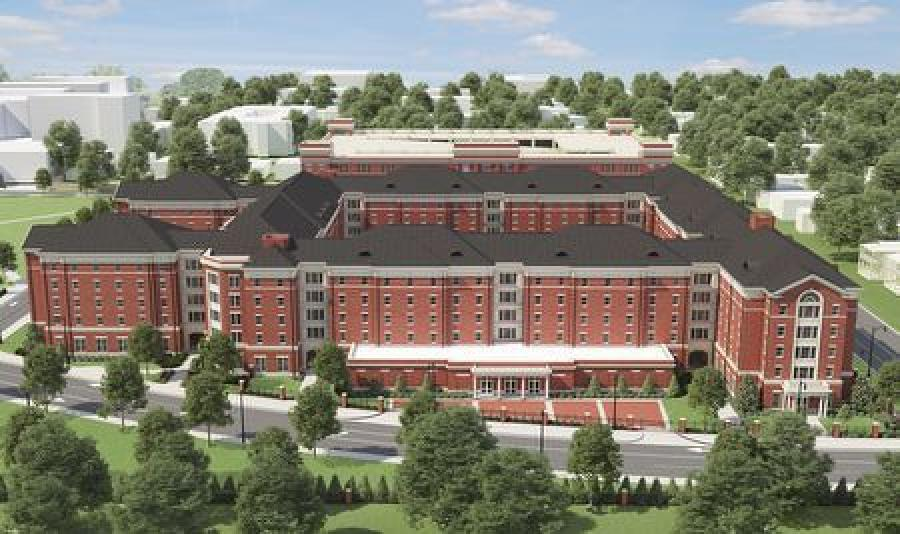 The new Tutwiler Residence Hall will accommodate more than 1,200 freshmen female students with two-person rooms, with private bathrooms in each room, lounges and community/traditional-style residence hall spaces. The project is budgeted at $144.9 million. (University of Alabama rendering)