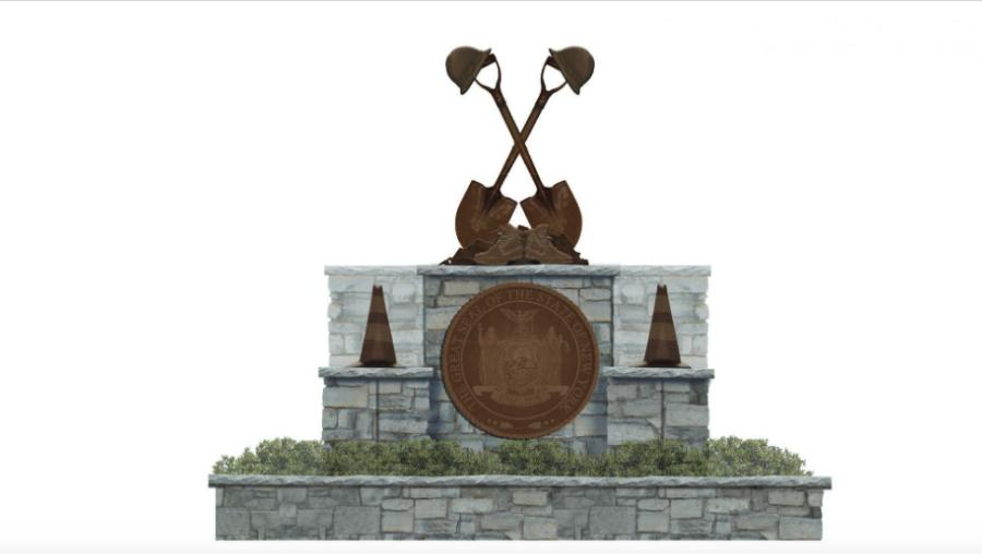 The new memorial at the state fairgrounds will include a centerpiece featuring a bronze sculpture of shovels, hard hats and boots on a platform surrounded by four bronze traffic cones and a dedication plaque.