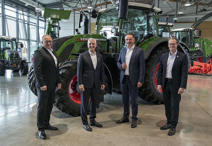 (L-R) are Michael Wellenzohn, member of the board of management, Deutz; Eric Hansotia, chairman, president and CEO, AGCO; Ing. Frank Hiller, chairman of the board of management, Deutz; and Torsten Dehner, senior vice president, Fendt and Valtra Global.