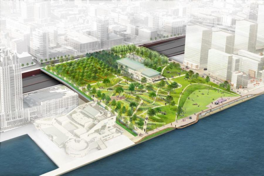 A rendering of the proposed park at Penn's Landing. (DRWC rendering)