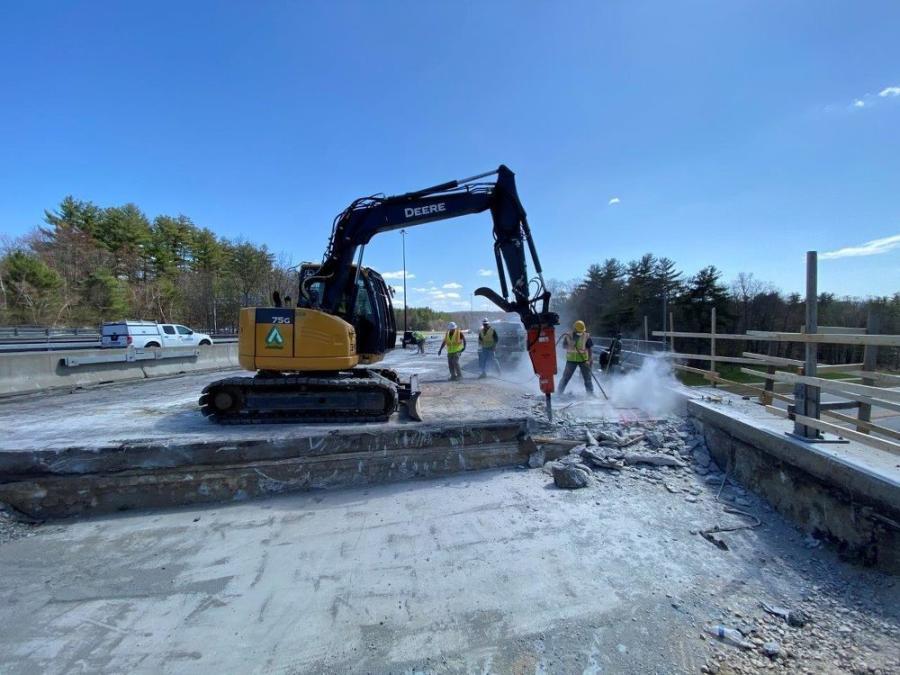 Crews are using a Grove YB5515 carrydeck crane, an Anderson HP35 Hydra Platform, a Caterpillar 336 excavator, a Caterpillar demolition hammer, a John Deere 75 and more.