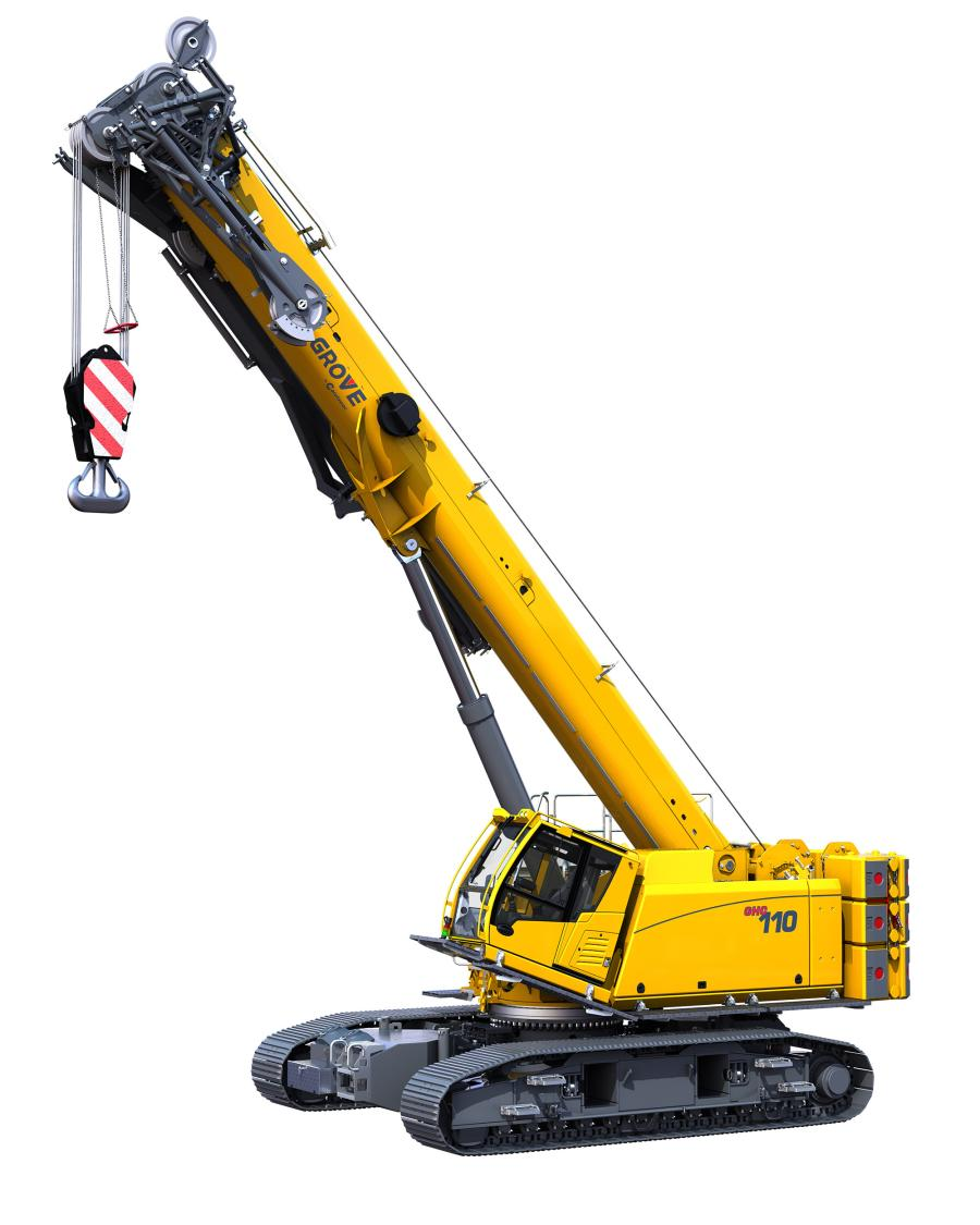 The Grove GHC110, a machine just added to the upper size range of Manitowoc's growing telescoping crawler product line, features a 110 ton capacity and joins the larger GHC140.