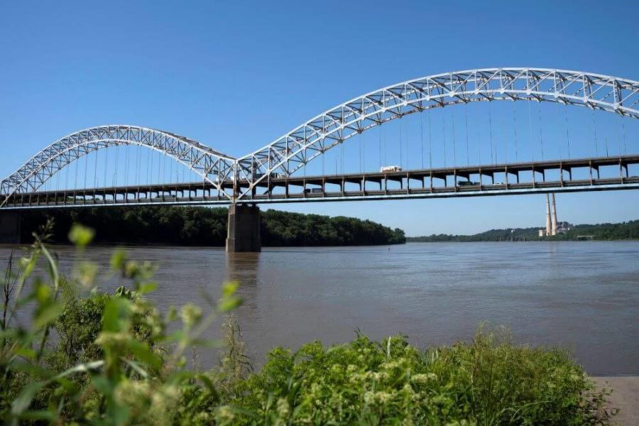 Preparations for bridge painting are under way as part of the Sherman Minton Renewal project. (Sherman Minton Renewal project photo)