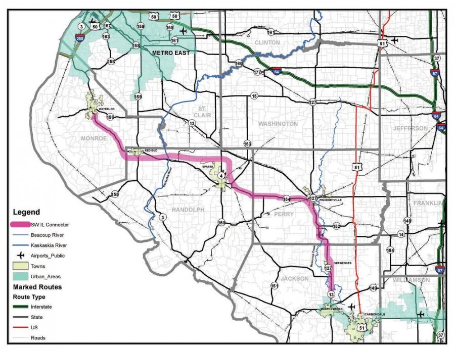 Marc Kiehna, chairman of the Randolph County Commissioners and also chairman of the Southwest Illinois Connector Task Force, has applied for $210 million dollars to help complete the Murphysboro to Pinckneyville section of the Southwest Illinois Connector Rural Expressway.