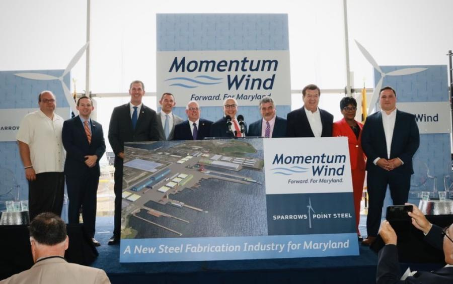 The Baltimore-based subsidiary of Italian renewable energy firm Renexia SpA, US Wind announced its intentions Aug. 3 to utilize 90 waterfront acres at Tradepoint Atlantic, a 3,300-acre logistics center in Baltimore County. There, the company intends to assemble turbine components and start a company called Sparrows Point Steel. (US Wind Inc. photo)