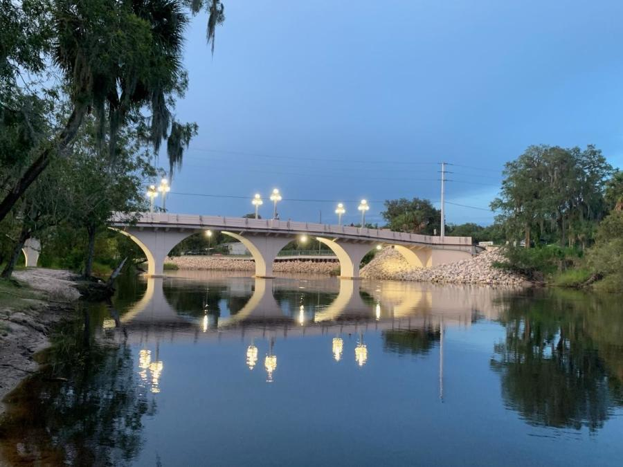 In June 2020, FDOT completed a $1.2 million repair, restoration and added lighting to the historic pedestrian bridge nestled between two Desoto County parks in Arcadia.