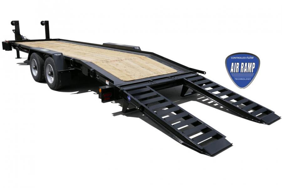 The DDI air ramp system operates via an airbag system that works off the same supply as the air brake system. Thus, any air-brake-equipped truck can operate a Felling Trailer equipped with air ramps without any other external power source (e.g., battery, gas engine, or truck-powered hydraulic system).